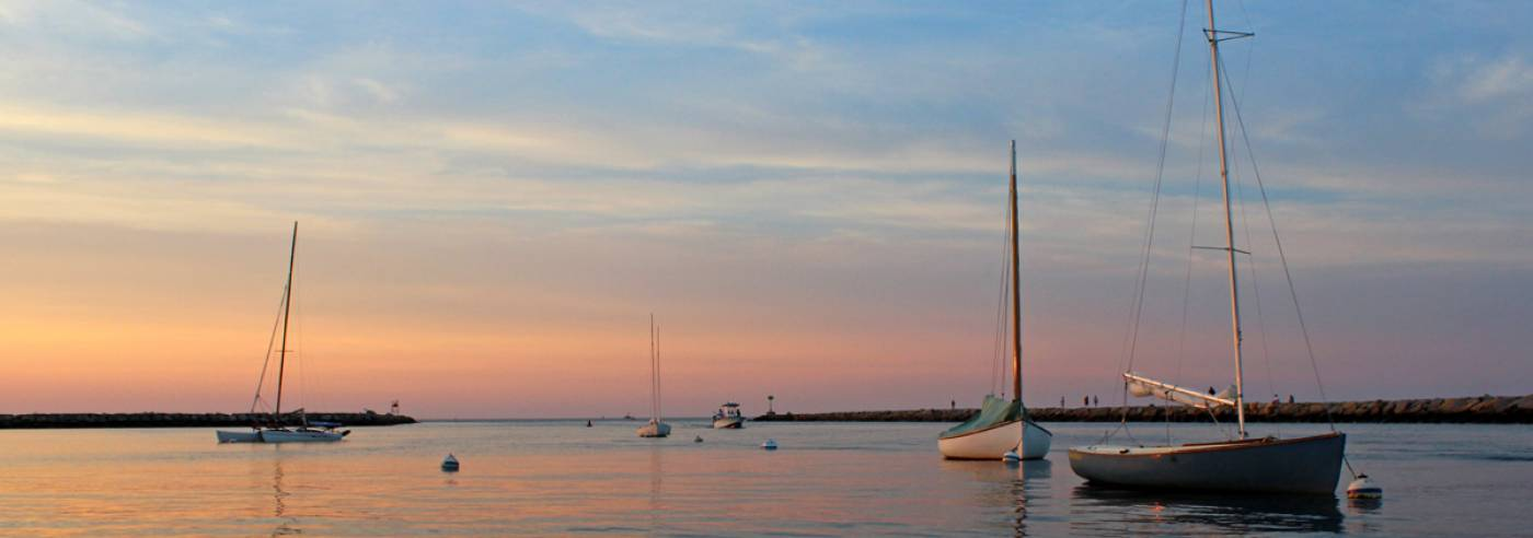 Boats in Sesuit Harbor, Dennis, Cape Cod, at sunset
